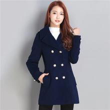 女式显瘦妮子上衣潮 修身 中长款 清仓处理韩版 毛呢大衣外套女装