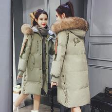 羽绒棉服女冬中长款2017新款百搭韩版宽松显瘦真毛领棉衣加厚棉袄