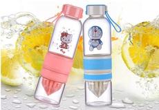 hellokitty KT猫粉色玻璃柠檬杯榨汁杯便携挂绳可爱卡通玻璃水杯