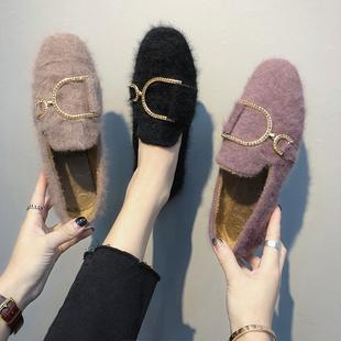 韩版新款晚晚仙女平底单鞋2018秋冬方头复古毛毛鞋网红瓢鞋乐福鞋