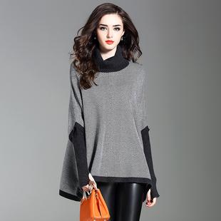 欧洲站秋冬新款时尚网红港味高领毛衣女士套头宽松潮韩版外穿打底