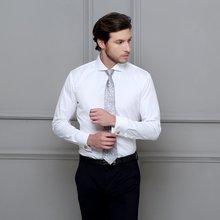 修身 长袖 扣男士 温莎领一字领法式袖 衬衫 商务新郎结婚白衬衣男装
