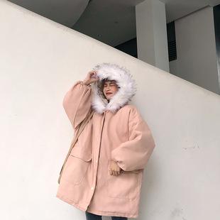 棉衣女2018新款冬季大毛领连帽加厚韩版外套宽松中长款学生棉袄潮