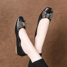 真皮蛋卷鞋女平底鞋软底浅口平跟大码女鞋42工作单鞋女瓢鞋孕妇鞋