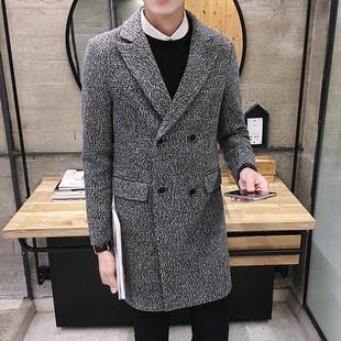 毛呢大衣男中长款青年韩版修身加厚呢子外套男士英伦时尚风衣男潮