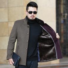 冬季中年男士毛呢夹克加绒加厚羊毛呢外套爸爸装大衣30/40/50岁