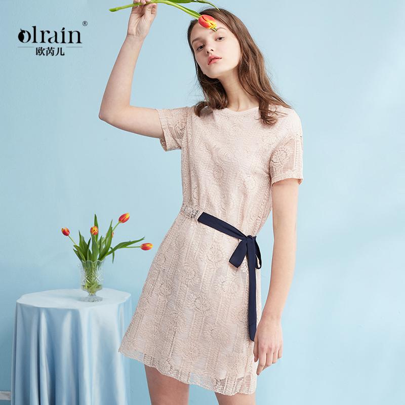 欧芮儿2018夏装收腰显瘦藕粉色镂空蕾丝连衣裙女中长款甜美裙子图片