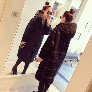 2017冬装新款茧型加厚格子大衣女韩版chic中长款过膝毛呢外套潮毛呢大衣