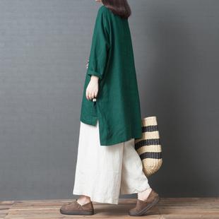 2018秋季新款韩版宽松大码棉麻衬衫裙女长袖纯色亚麻不规则连衣裙