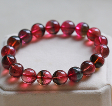 西瓜碧玺手链11mm鲜艳红润近玻璃体天然一物一图正品专柜