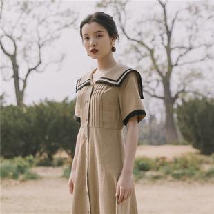 夏装2019新款女法式复古裙过膝很仙气质连衣裙学院风仙气森女长裙