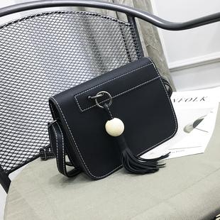 包包2016新款斜挎包欧美时尚撞色流苏单肩斜跨女小方包简约小包包