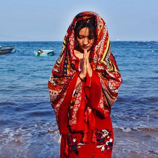 旅行拍照大围巾海边度假防晒大披肩丝巾民族风丝巾披肩两用棉麻