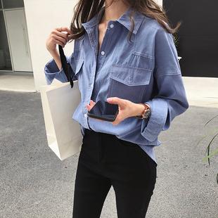 秋装2018新款港味chic宽松显瘦衬衫女长袖上衣慵懒风衬衣休闲外套