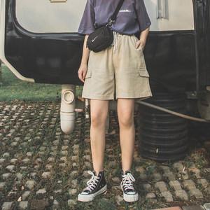 陈两两bf风工装五分裤简约休闲高腰中性直筒学生宽松阔腿短裤<span class=H>女</span>夏