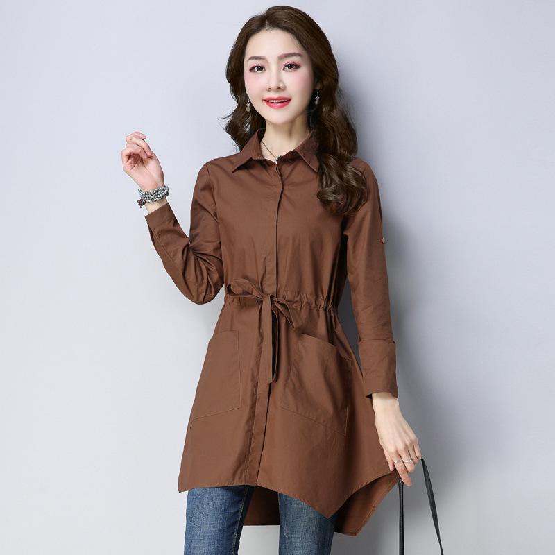 纯棉布料衬衫2018新款春秋装宽松收腰长袖衬衣中年女士中长款上衣图片