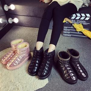 2016棉鞋秋冬季韩版格子短筒雪地靴女短靴子厚底加绒保暖面包女鞋女靴