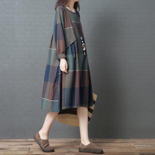 十暮棉2018春秋款棉麻女装 时尚舒适格子纯棉长袖大码长款连衣裙