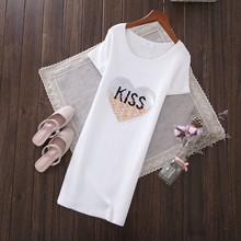 可翻面亮片KISS爱心中长款 2019春夏新款 T恤女欧洲站打底衫 白色裙