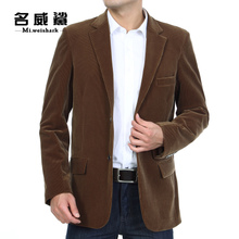 新款单件西服中老年男商务休闲灯芯绒西装外套中年男装春秋装上衣