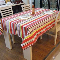 四金冠 备年货高档彩虹条纹布艺全棉帆布餐饭桌布客厅台布 E9725