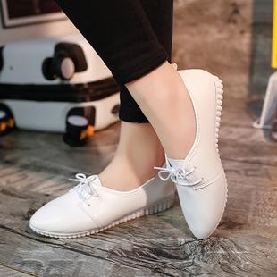 2016春新款简约系带女单鞋平底韩版小白鞋平跟女皮鞋工作豆豆鞋