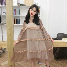 春夏女装韩版中长款宽松长袖透视网纱连衣裙仙女裙学生长裙+吊带