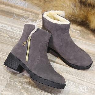 新款棉鞋秋冬季鞋子学生厚底马丁靴女加厚加绒短靴女短筒雪地靴女