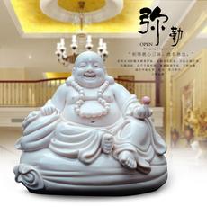 家居饰品摆件 创意陶瓷工艺品弥勒佛像客厅卧室桌面小摆件装饰品