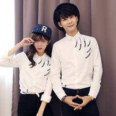2017新款潮情侣装春装长袖衬衫修身衬衣白色上衣韩版男女学生班服