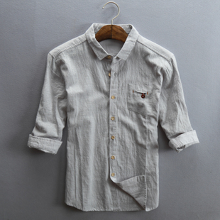 夏季男士亚麻七分袖衬衫棉麻料修身文艺水洗日系7分麻布复古衬衣
