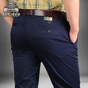 中年西裤秋季裤子休闲裤男直筒宽松长裤战地吉普男装大码青年男裤棒球服