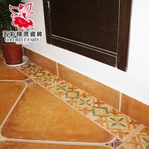 五彩精灵仿古砖 踢脚线 地脚线 美式家装 客厅卧室地砖 瓷砖 主材