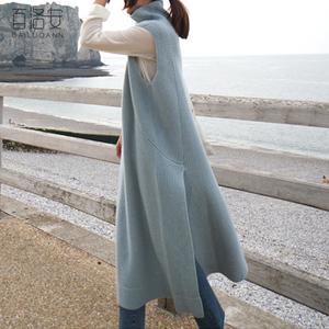 百洛安2017秋装新款无袖高领针织衫女背心裙中长款开叉打底连衣裙杨桃