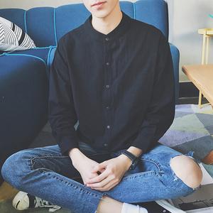 2017新款春季潮流立领衬衫修身韩版长袖衬衣纯色百搭男装寸衫上衣衬衫男