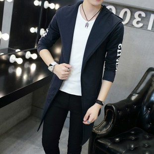 春季男士外套薄款韩版中长款大衣男装修身青少年学生连帽风衣潮流