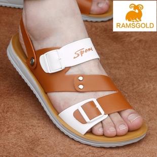 新款夏季男式沙滩鞋男士凉鞋真皮凉鞋男两用凉鞋青少年学生韩版潮