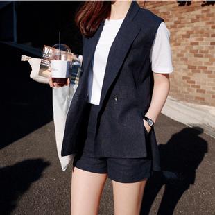 韩版夏季棉麻马夹女西装短裤套装女士亚麻休闲两件套薄马甲套装女
