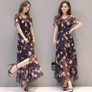 左娜图连衣裙女2017夏装新款韩版女装气质碎花长裙夏季雪纺裙子潮