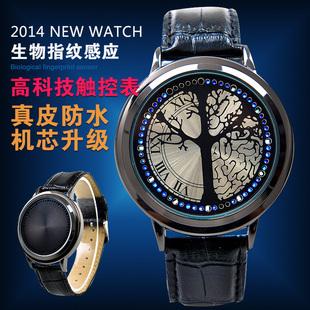 包邮新款黑色真皮触摸屏手表防水LED手表夜光电子手表情侣手表
