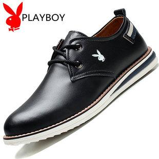 花花公子男鞋冬季男士皮鞋加绒保暖棉鞋真皮商务休闲鞋子英伦潮鞋