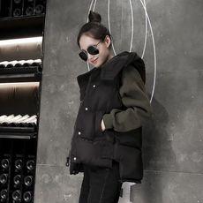 冬季韩版宽松棉马甲女短款大码连帽面包服学生加厚背心坎肩百搭潮