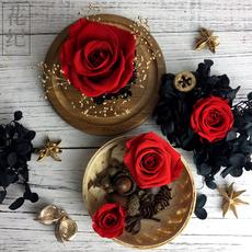花纪永生花盒diy玻璃罩车挂玫瑰diy节日畅销の大红色玫瑰国产篇