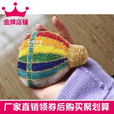杜鹃珠绣正品纯手工串珠创意款五彩缤纷气球硬币手拿零钱包 4色