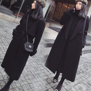 韩国2017春装新款毛呢外套女中长款过膝收腰修身显瘦呢子大衣气质