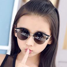普莱希圆框儿童太阳镜男童女童墨镜时尚韩版偏光蛤蟆镜大童小童款