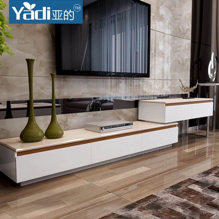 家具现代时尚简约大理石伸缩电视柜客厅小户型地柜