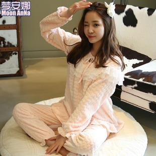 秋冬季珊瑚绒睡衣女士甜美可爱韩版加厚法兰绒家居服冬天套头套装