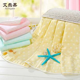 艾乐果 婴儿浴巾纯棉新生儿宝宝纱布浴巾超柔秋冬儿童童被 毛巾被