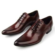 新款潮鞋英伦风格 酒红色尖头系带男士高档真皮正装皮鞋商务男鞋